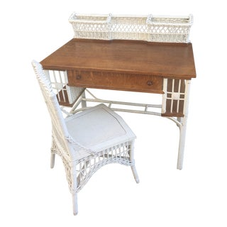 Antique Heywood Wakefield White Wicker and Dark Oak Desk and Chair Set - 2 Pieces For Sale