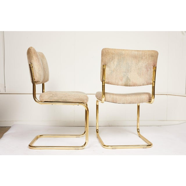 Mid-Century Modern Pair of Brass Cantilever Chairs by Chromcraft For Sale - Image 3 of 6