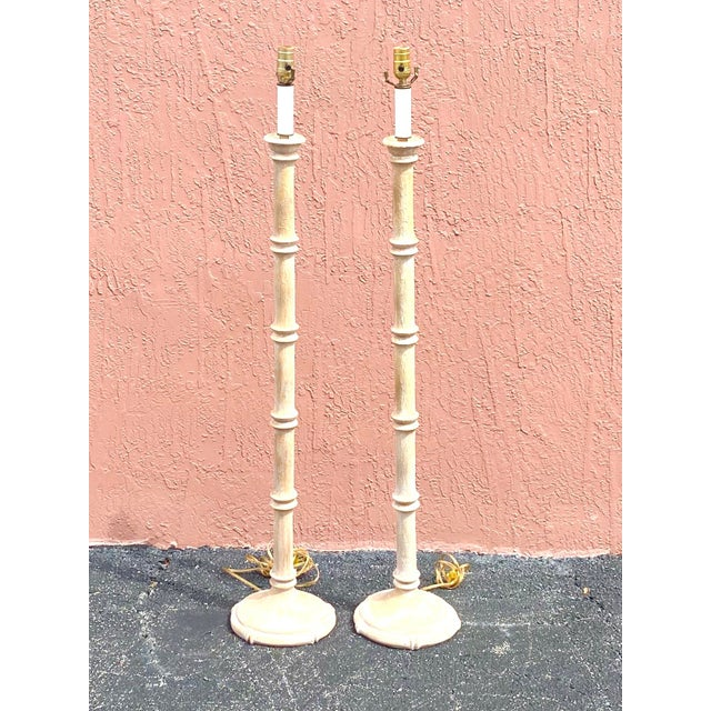 Almond Vintage Coastal Carved Bamboo Floor Lamps - a Pair For Sale - Image 8 of 10