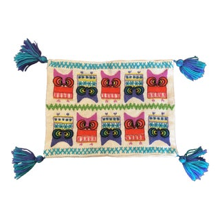Vintage Pom Pom Owl Pillow Case