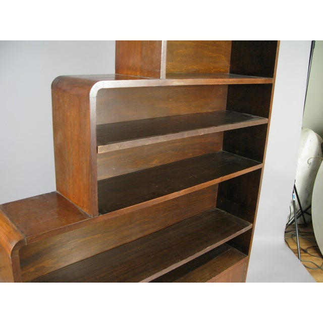 Brown Pair of 1940s Walnut Skyscraper Bookcases For Sale - Image 8 of 9