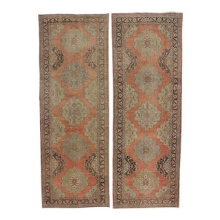 Pair of Vintage Turkish Oushak Runners with Modern Design For Sale