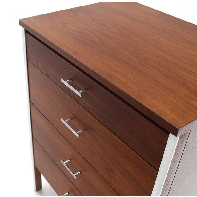 Brown Four Drawers Small Petit Narrow Bachelor Chest For Sale - Image 8 of 10