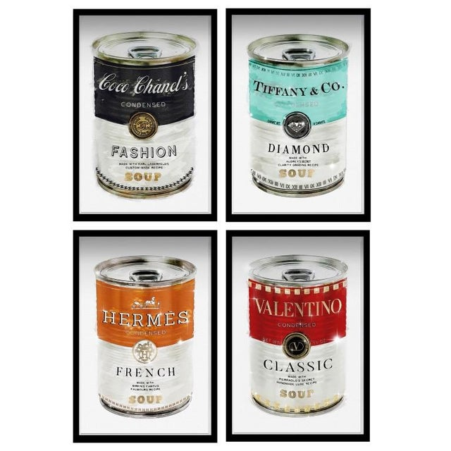 Oliver Gal 'Luxe Fashion Soup Cans- Set of 4' Framed Art For Sale - Image 4 of 4