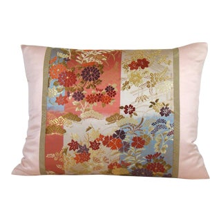 Floral Ikat Checkerboard Japanese Obi Lumbar Pillow Cover For Sale