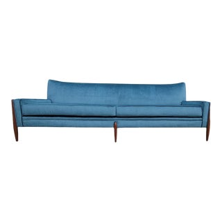 Mid Century Jules Heumann 3 Seat Sofa in Teal Colored Velvet For Sale