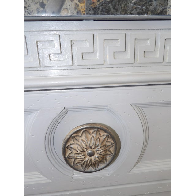 Faux Marble Topped Sideboard With Ornate Iron Base & Greek Key Design For Sale - Image 4 of 8