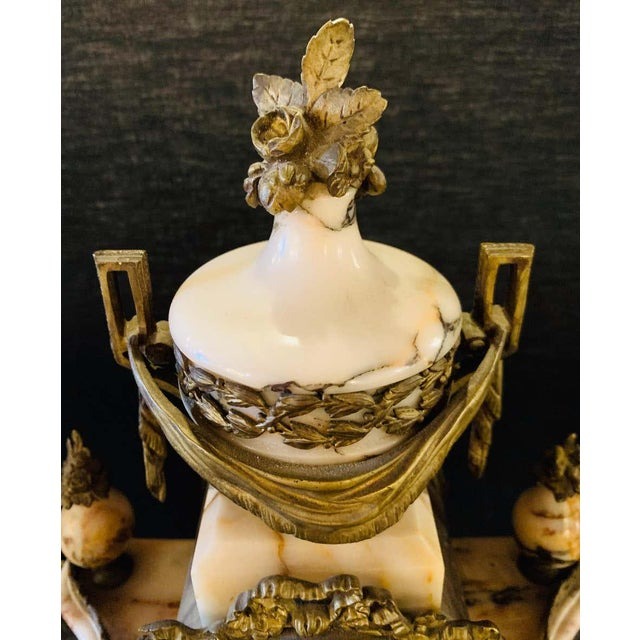 Louis XVI Style Alabaster and Bronze Clock Garniture Set 19th-Early 20th Century For Sale In New York - Image 6 of 13