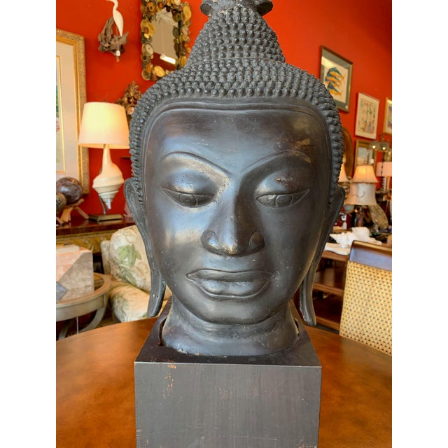 Traditional Late 19th Century Antique Monumental Bronze Thai Buddha Head For Sale - Image 3 of 12