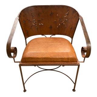 South West Design Leather and Metal Chair For Sale