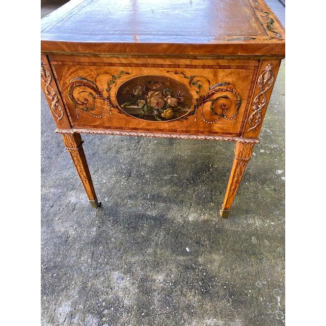 Fine Early 19th C. English Painted Satonwood Desk With Leather Top For Sale - Image 9 of 13