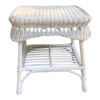 Vintage Shabby Chic White Wicker Side Table For Sale