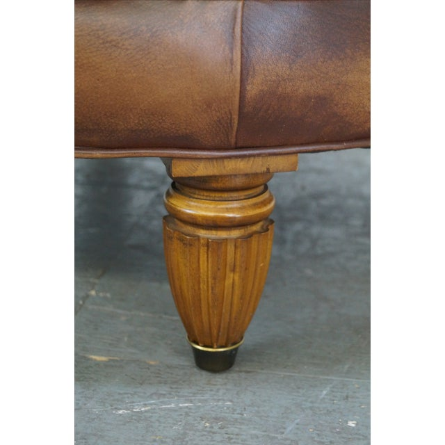 Quality Brown Tufted Leather Chesterfield Ottoman - Image 5 of 10