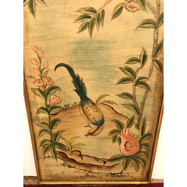 1960s Hand Painted Asian Panels With Birds & Foliage - a Pair For Sale - Image 5 of 10