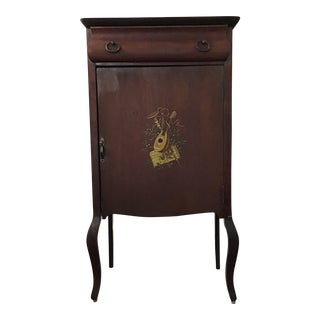19th Century Traditional Music Cabinet With Hand Painted Lyre For Sale