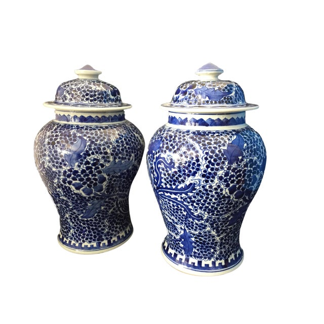 Blue & White Lidded Ginger Jars - a Pair - Image 1 of 9