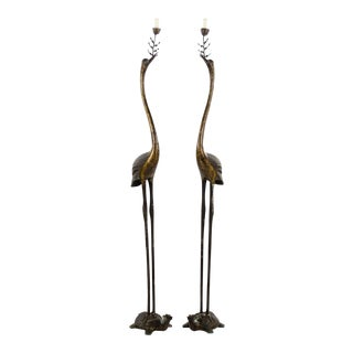 Chinese Bronze Crane Form Temple Candle Stands - a Pair For Sale