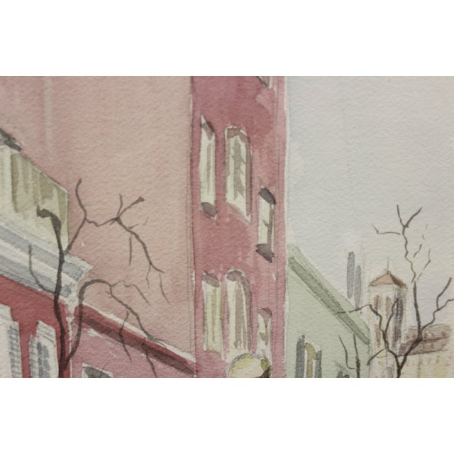 Gated Courtyard Watercolor For Sale In New York - Image 6 of 7