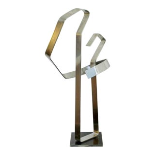 Mid Century Modern Chrome Aluminum Metal Abstract Table Sculpture Dan Murphy 70s For Sale