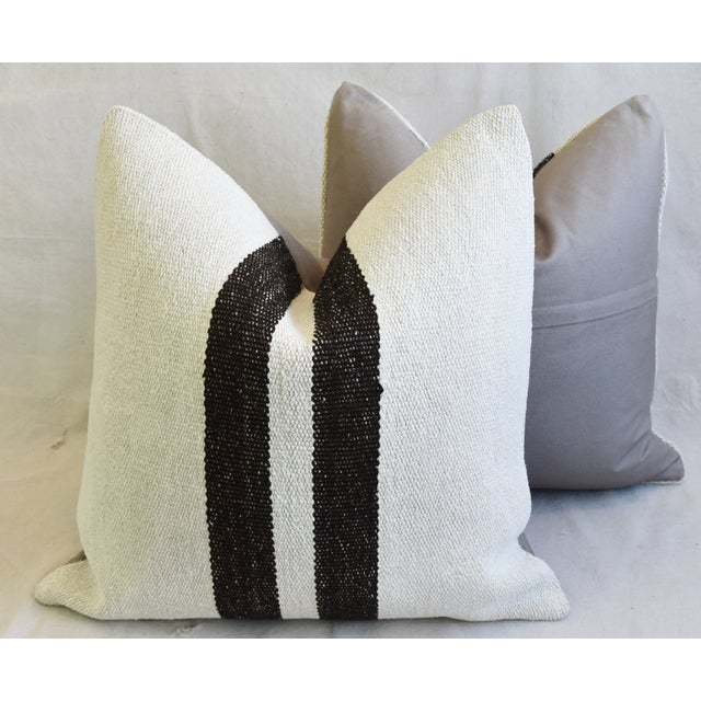 "Organic Hemp & Cotton Turkish Kilim Feather/Down Pillows 23"" Square - Pair For Sale - Image 11 of 13"