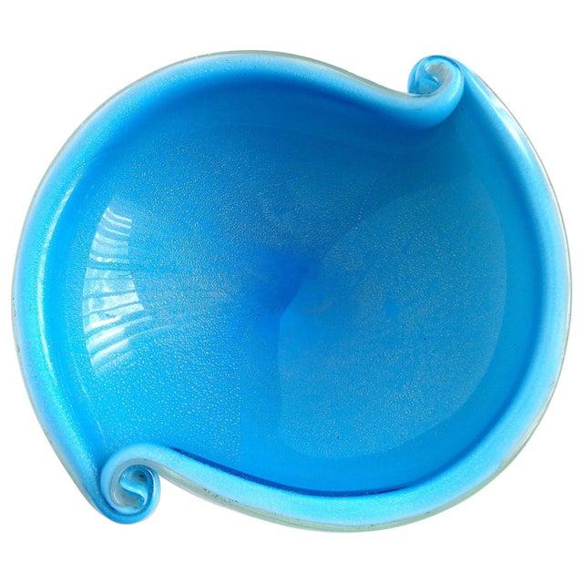 Murano Vintage Cobalt Blue White Gold Flecks Italian Art Glass Scroll Shell Bowl Dish For Sale In Orlando - Image 6 of 6