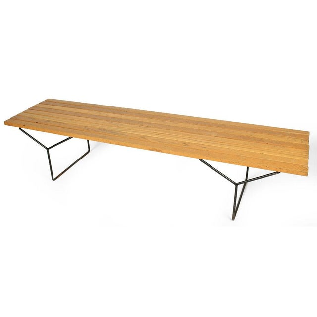 Mid-Century Modern Harry Bertoia for Knoll Slat Bench For Sale - Image 3 of 7