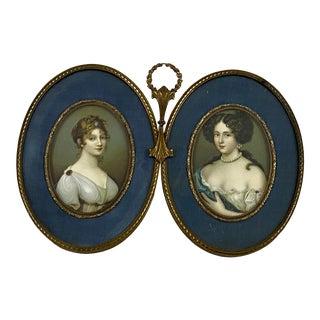 Vintage Bronze Double Miniature Portrait Frame W/ Prints For Sale