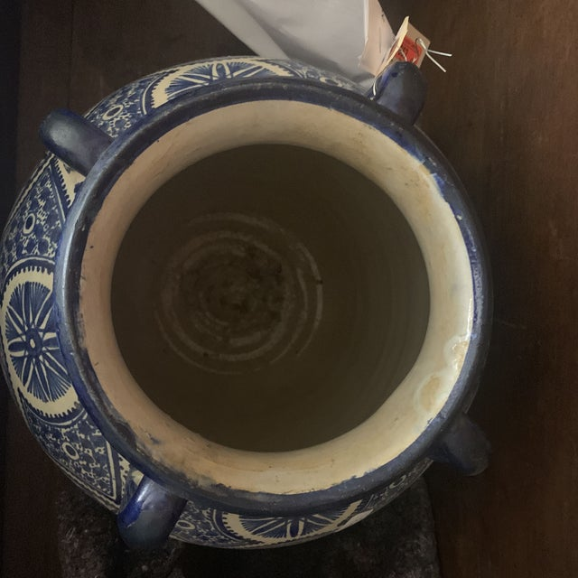 Blue Large Moroccan Hispano-Moorish Blue and White Ceramic Handled Jar For Sale - Image 8 of 13