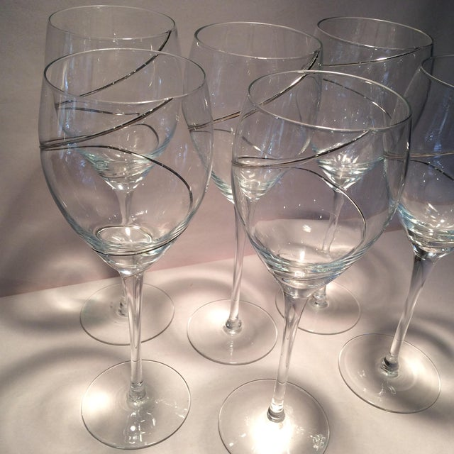 Vintage Silver Swirl Crystal Glasses - Set of 6 For Sale - Image 11 of 11
