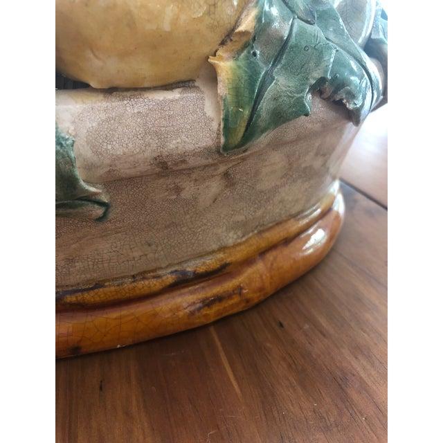 Mid Century Majolica Fruit Basket Centerpiece For Sale - Image 4 of 10