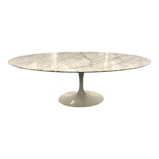 Saarinen Style Oval Marble Topped Dining Table