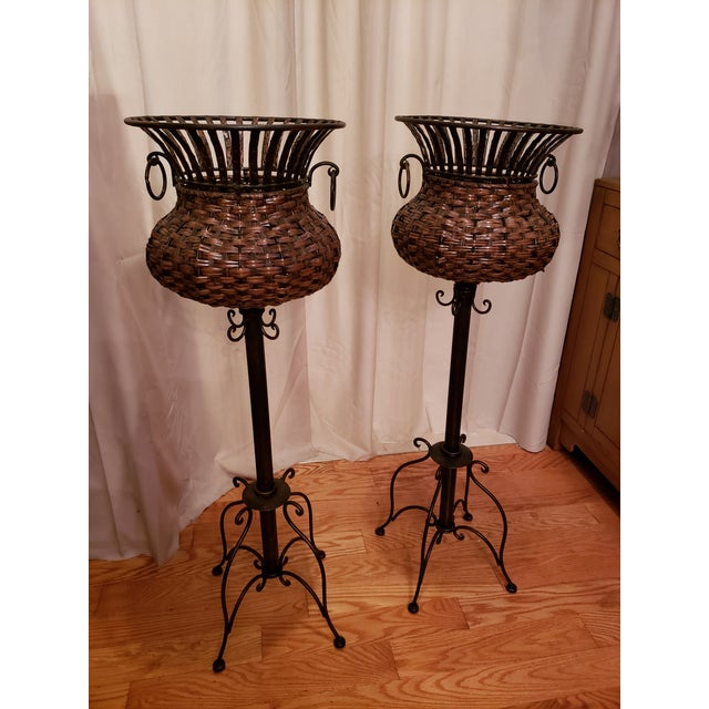 Iron 1980s Vintage Iron, Metal and Wicker Plant Stands - A Pair For Sale - Image 7 of 7