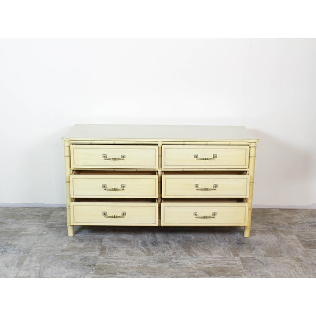 Henry Link Mid Century Faux Bamboo Dresser, Faux Bamboo Dresser of Six Drawers, Cream Dresser For Sale - Image 4 of 7