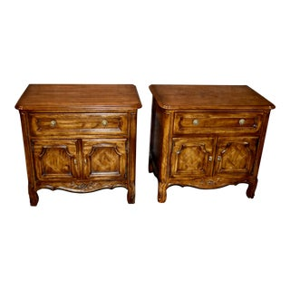 Vintage Drexel French Provincial Carved and Inlaid Nightstands - a Pair For Sale