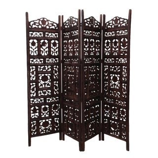 Walnut Stain Floral Folding Screen For Sale