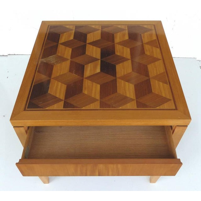 Mid-Century Modern Mid-Century Baker Inlaid Geometric Design Side Table For Sale - Image 3 of 10