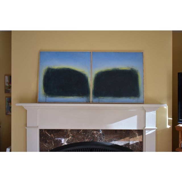 "Modern ""Touch, Summer Morning"" Abstract Diptych by Stephen Remick For Sale - Image 10 of 13"