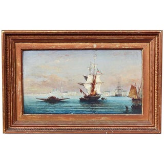 Busy Venetian Harbor Scene Italian Seascape Oil Painting For Sale