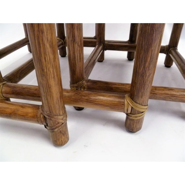 1980s Rustic Modern McGuire Rattan and Laced Leather Nesting Tables or Stools - Set of 4 For Sale - Image 11 of 12