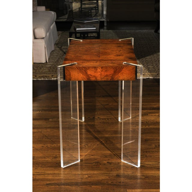 Lucite Superb Bookmatch Olivewood Console, Game Table and Writing Desk, Circa 1975 For Sale - Image 7 of 13