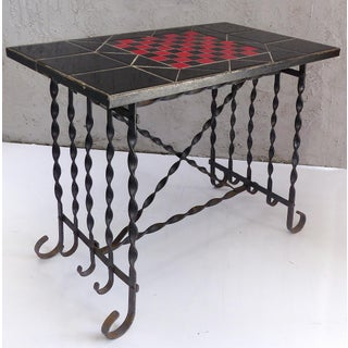 Mid-Century Wrought Iron Tile Top Chess Table & Chess Pieces Preview