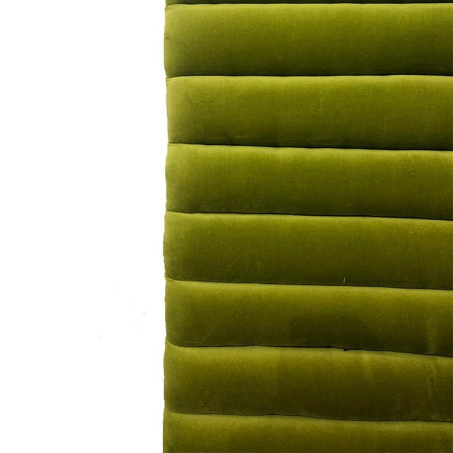 Mid-Century Modern Green Velvet Channeled Headboard For Sale - Image 4 of 5