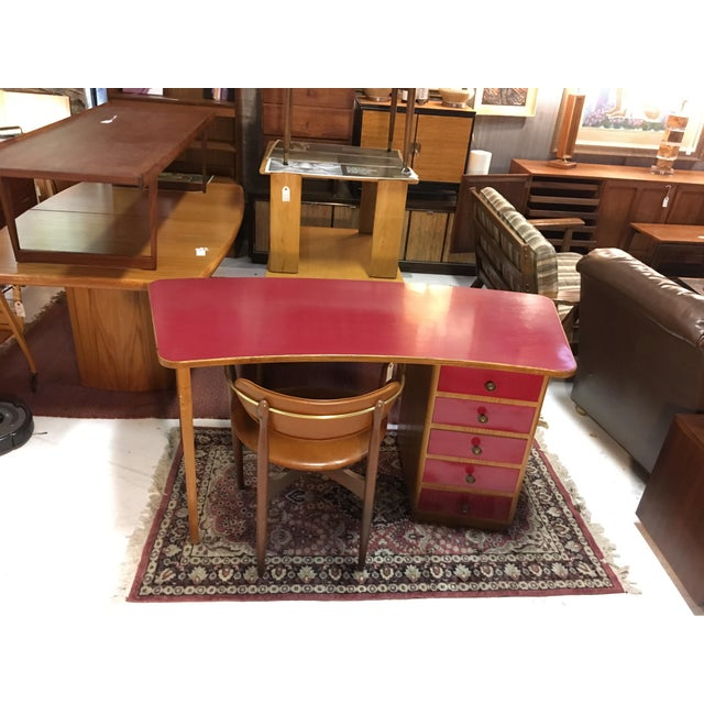 Wood 1950s Mid-Century Modern Oak and Red Laminate Writing Desk For Sale - Image 7 of 9
