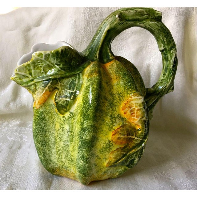 """Vintage San Marco Italy Harvest Pumpkin Pitcher Made in beautiful San Marco, Italy 1970's 8-1/4"""" high with 2-1/2"""" spout..."""