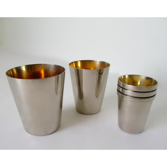 Vintage German Gentleman's Silver Plate & Gold Lined Traveling Cordial Cups - 5 Pieces For Sale In West Palm - Image 6 of 13