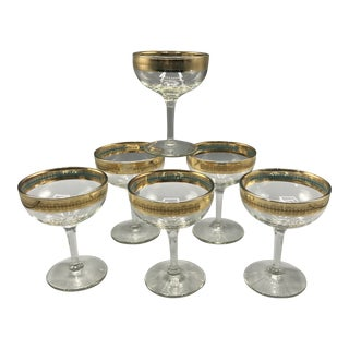 Vintage Bohemian 22 Kt Gold Rim With Blue Champagne Coupes - Set of 6 For Sale
