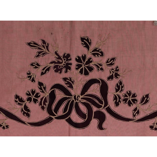 Italian Pink Appliqued Window Valence With Ribbon & Bows For Sale - Image 3 of 5
