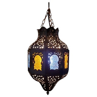 Moroccan Copper Ceiling Lamp or Lantern with Blue / Yellow Glass For Sale