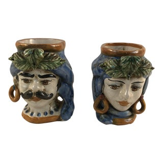 Italian G. Romano Caltagirone Majolica King and Queen Head Vases - a Pair For Sale