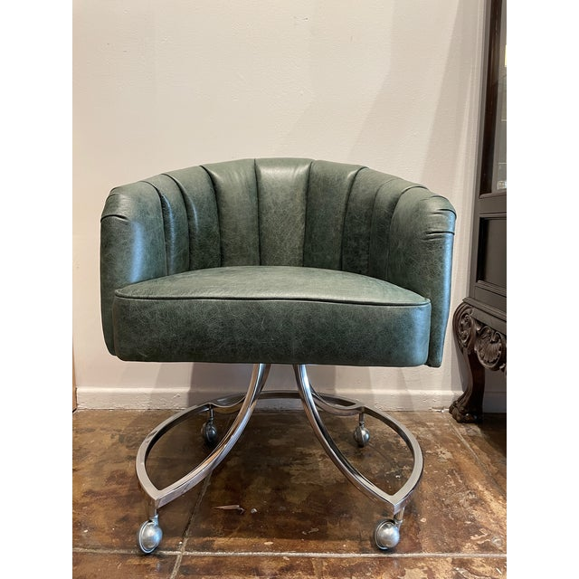 Chrome 1970s Leather Channel Tufted and Chrome Desk Chair For Sale - Image 8 of 8